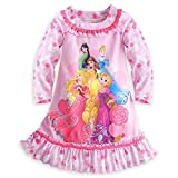 Disney Store Princess Dream Team Long Sleeve Floral Nightshirt Nightgown Girls, Pink, Size 5/6