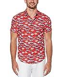 Cubavera Men's Pique Shirt, Tango Red, Large