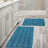 Bathroom Rugs Slip-Resistant Extra Absorbent Soft and Fluffy Thick Striped Bath Mat Non Slip Microfiber Shag Floor Mat Dry Fast Waterproof Bath Mat (Set of 2-20' x 32'/17' x 24')