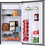 Compact Fridge FRESTEC 3.2 CU.FT. Mini Dorm Refrigerator Small Fridge with Freezer, 37 dB Low Noise, Adjustable Temperature, Reversible Door, for Home Office Dorm or RV (Stainless Steel)