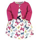 Touched by Nature Baby Girls' Organic Cotton Dress and Cardigan, Bright Butterflies, 18-24 Months