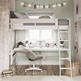 Dorel Living Harlan Wood Loft Bed with Ladder and Guard Rail - Twin (White)