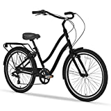 sixthreezero EVRYjourney Men's 7-Speed Step-Through Hybrid Cruiser Bicycle, Matte Black w/Black Seat/Grips, 26' Wheels