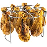 The Steam Boss - Air Fryer Vertical Chicken Grill Rack   Air Fryer Accessories for use with Ninja Foodi, Instapot Duo Crisp, or Air Fryer Lid for Pressure Cooker Mealthy CrispLid   6 Qt 8 Quart   12-Slot Rack Stand Legs or Wings