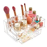 Clear Makeup Organizer, Acrylic Makeup Organizer, Durable Countertop Makeup Brush Holder Storage Organizer Tray With Drawer For Vanity Bathroom Dresser, Compact 16-compartment Cosmetic Display Case