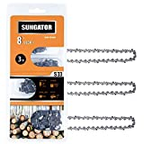 SUNGATOR 3-Pack 8 Inch Chainsaw Chain SG-S33, 3/8' LP Pitch - .050' Gauge - 33 Drive Links Compatible with Chicago, Earthwise, Greenworks and More