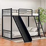 CJLMNMetal Loft Bunk Bed with Slide and Ladder, Multifunctional Design, with Safety Guard Rails for Kids Teens Adults/Easy to Assemble/No Box Spring Required (Black).