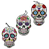 ML Warehouse Halloween Decor & Craft Collection 2019 (3 Day of The Dead Sugar Skull Hanging Wall Signs, 9.5x13.375 in.)