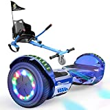 EverCross Hoverboard, Self Balancing Scooter Hoverboard with Seat Attachment, 6.5' Hover Board Scooter with Bluetooth Speaker & LED Lights, Hoverboards Suit for Adults and Kids