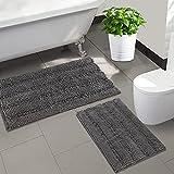 Bathroom Rugs Luxury Bath Mat, Extra-Soft Chenille Bath Rugs Non Slip Extra Absorbent Bathroom Mat, Fluffy Microfiber Plush Rugs, Machine Washable Floor Mats(24'x 17'+32'x 20', Grey)