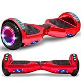Newest Generation Electric Hoverboard Dual Motors Two Wheels Hoover Board Smart Self Balancing Scooter with Built-in Bluetooth Speaker LED Lights for Adults Kids Gift (Chrome Red)