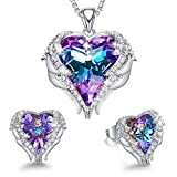 CDE Angel Wing Heart Jewelry Sets Gift for Women Pendant Necklaces and Earrings Anniversary Birthday Mother's Day Jewelry Gifts for Women Mom Stepmom Daughter