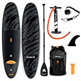 Hurley Advantage 10' Stand Up Paddle Board with Hikeable Backpack, Air Pump, Adjustable Floating Paddle, Coiled Leash, Fin & Repair Kit (Black Tiger)