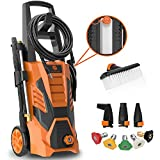 SUNPOW Pressure Washer 3000 Max PSI 2.4 GPM Electric High Power Washer Machine Cleaner with 8 Nozzles, 2 Spray Gun, Built-in Detergent Tank, Soft Bristle Brush for Cleaning Homes,Cars,Driveways,Patios