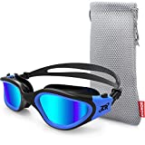 Swim Goggles, ZIONOR G1 Polarized Swimming Goggles UV Protection Leakproof Anti-fog Adjustable Strap for Adult Men Women (Polarized Blue Lens Black Blue Frame)