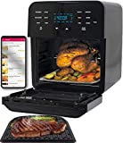 NUWAVE BRIO 14-Quart Large Capacity Air Fryer Oven with Digital Touch Screen Controls and Integrated Digital Temperature Probe; 3 Heavy-Duty NEVER-RUST Stainless Steel Mesh Racks Great for Multi-Level Family Meals; Drip Tray; Rotisserie Kit includes Skewers and Basket; 100 Programmed Presets and the Ability to Store and Recall Your Own Programs; 1800 Watts w/ Adjustable Wattage Control - 900, 1500 & 1800; Advanced Functions include PROGRAM, SEAR, STAGE (Brio 14QT Air Fryer Oven + Accessories)