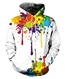 Neemanndy Men and Women Classic White and Colorful Paint Sweaters Hoodie 3D Graphic Unique Design Pullover Sweatershirt, Large