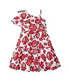 Janie and Jack Girl's One Shoulder Floral Dress (Toddler/Little Kids/Big Kids) Red 6 (Little Kids)