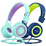 Kids Headphones with Microphone 2 Pack, Mpow CH8 Wired On Ear Headphones for Kids with 91dB Volume Limit, Online Schooling Headsets with Sharing Splitter for Boys Girls Children School Travel