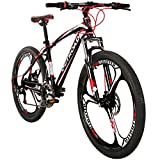 Max4out Mountain Bike 21 Speed with High Carbon Steel Frame, 26 inch Wheels, Double Disc Brake, Front Suspension Anti-Slip Bikes Red