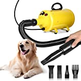 amzdeal Dog Dryer 3.8HP/2800W Stepless Adjustable Speed Large Dog Hair Force Dryer Home Professional Pet Grooming Dryer Blaster with Heat, Spring Hose, 4 Nozzles, Yellow