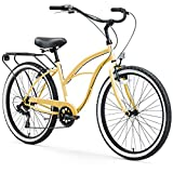 sixthreezero Around The Block Women's 7-Speed Beach Cruiser Bicycle, 26' Wheels, Cream with Black Seat and Grips