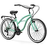 sixthreezero Around The Block Women's 21-Speed Beach Cruiser Bicycle, 26' Wheels, Mint Green with Black Seat and Grips