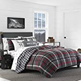 Eddie Bauer Home Willow Collection Bedding Set-Soft and Cozy, Reversible Plaid Comforter, Queen, Full, Dark Grey