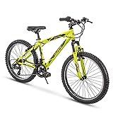 Huffy Hardtail Mountain Trail Bike 24 inch, 26 inch, 27.5 inch, 24 Inch Wheels/16.75 Inch Frame, Matte Acid Green