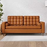 Everlane Home Lynnwood Upholstered Sofa with Square Arms and Tufting-Bolster Throw Pillows Included, Faux Camel