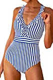 CUPSHE Women's Blue White Stripe Ruffled One Piece Swimsuit Small