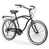 sixthreezero Around The Block Men's 7-Speed Beach Cruiser Bicycle, 26' Wheels, Matte Black with Black Seat and Grips