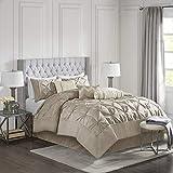 Madison Park Laurel 7-Piece Comforter Set-Mushroom-Queen, Taupe