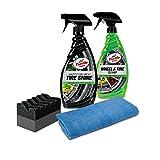 Turtle Wax 50837 Tire Shine & Wheel Cleaner Kit with Applicator & Microfiber Towel, 46. Fluid_Ounces