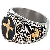 Jude Jewelers Christian Holy Cross Prayer Ring Stainless Steel Black Enamel Religious (11)