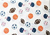 Max Studio Kids Sports Baseballs Footballs Soccer Balls on White, 4 Piece Full Size Sheet Set
