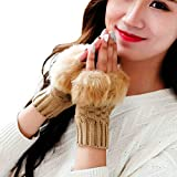 Simsly Womens Winter Faux Fur Gloves Knit Wrist Warmer Fingerless Mittens Thumb Hole Gloves for Winter (Camel)