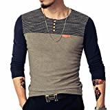 LOGEEYAR Mens Summer Slim Fitted Casual Short-Sleeve Button T-Shirts Contrast Color Stitching Tee (Small, Long/Blue)