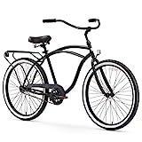 sixthreezero Around The Block Men's Single-Speed Beach Cruiser Bicycle, 26' Wheels, Matte Black with Black Seat and Grips