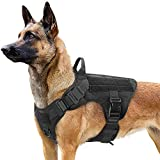 rabbitgoo Tactical Dog Harness for Large Dogs, Military Dog Harness with Handle, No-Pull Service Dog Vest with Molle & Loop Panels, Adjustable Dog Vest Harness for Training Hunting Walking, Black, L
