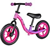 Albott Balance Bike Training Bike for 18 Months Kids - No Pedal 12' Push Bikes with Rubber Footrest for Baby Toddlers (Pink)