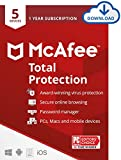 McAfee Antivirus Total Protection 2021, 5 Device, Internet Security Software, Password Manager, Privacy, 1 Year - Download Code
