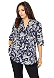 Jessica London Women's Plus Size A-Line Poplin Shirt with Elbow Length Sleeves - 22, Navy Tossed Paisley Blue