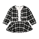 Toddler Baby Girl Plaid Skirt Set Long Sleeve Jacket Coat Tops Party Dress Tutu Skirt Fall Outfit Clothes (Black, 1-2T)
