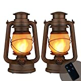 Flame Light Vintage Lantern, Flickering Camping Lantern Tent Light with Two Models Night Lights Led Decor for Patio Garden Party Outdoor or Indoor with Remote Control Battery Operated