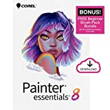 Corel Painter Essentials 8   Beginner Digital Painting Software   Amazon Exclusive Brush Pack Bundle [PC Download]
