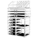 HBlife Acrylic Jewelry and Cosmetic Storage Drawers Display Makeup Organizer Boxes Case with 11 Drawers, 9.5' x 5.4' x 15.8', 4 Piece, Clear