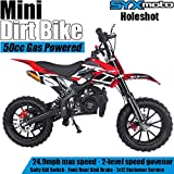 SYX MOTO Kids Mini Dirt Bike Gas Power 2-Stroke 50cc Motorcycle Holeshot Off Road Motorcycle Holeshot Pit Bike, Pull Start, Red