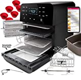 NuWave 14 QT Brio Air Fryer (14 QT BRIO + Accessories Kit) 1800 Watts, 12-in-1 - Digital Touch Screen and Integrated Digital Temperature Probe; 3 Heavy-Duty NEVER-RUST Stainless Steel Mesh Racks Great for Multi-Level Family Meals; Drip Tray; Rotisserie Kit includes Skewers and Basket; 100 Programmed Presets and Ability to Store and Recall Your Own Programs; Adjustable Wattage Control - 900, 1500 & 1800; Advanced Functions include PROGRAM, SEAR, STAGE, PREHEAT, DELAY, WARM, ROTISSERIE
