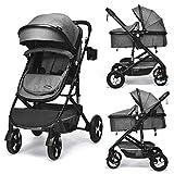 INFANS Baby Stroller for Newborn, 2 in 1 High Landscape Convertible Reversible Bassinet Pram for Infant & Toddler, Foldable Aluminum Alloy Pushchair with Adjustable Backrest, 3D Suspension (Grey)